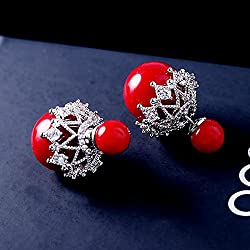 A&C Princess Snowflake Shaped 925 Sterling Silver Dangle Earring Jewelry for Women, Fashion Stud Earrings for Girl. (Red)