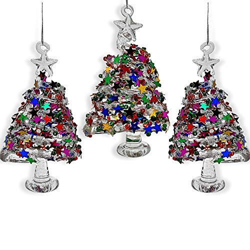 BANBERRY DESIGNS Glass Christmas Tree Ornaments - Set of 3 Swirl Glass Trees with Confetti Glitter - Glass Christmas Ornament Box Sets - Whimsical Christmas Ornaments (Ornament Spun Tree Glass)