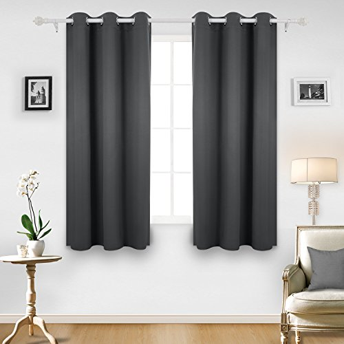 Deconovo Room Darkening Thermal Insulated Blackout Grommet Window Curtain For Living Dark Grey42x63 Inch1 Panel