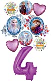 Frozen 2 Party Supplies 4th Birthday Elsa, Anna and Olaf Balloon Bouquet Decorations - Purple Number 4