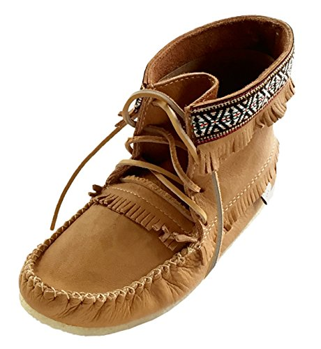 Laurentian Chief Men's Fringe and Braid Apache Moccasin Boots Cork Brown (Brown Apache Fringed Shoes)