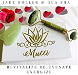 Facial Jaw Pain Causes - Mucci Jade Roller and Guasha Massage Set Tool for Face & Body PLUS Bonus Head Wrap∣100% Natural Jade∣Anti-Aging & Anti-Wrinkle Skin Care Tool∣Skin Rejuvenation∣Healing Massage Tool