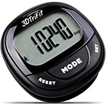 3DTriFit 3D Pedometer Activity Tracker | Best Pedometer for Walking with Pause Function & 7-Day Memory for Men & Women. Fitness Tracker Accurately Monitors Steps, Calories Burned & Distance