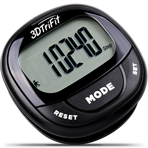3DTriFit 3D Pedometer Activity Tracker | Best Pedometer for Walking with Pause Function & 7 Day Memory for Men & Women. Fitness Tracker Accurately Monitors Steps, Calories Burned & Distance