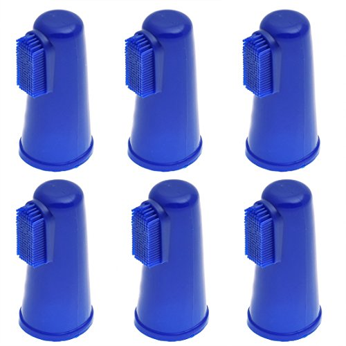 6 Pack Blue Pet Dog & Cat Finger Toothbrush for MEDIUM to LARGE fingers. Dental Hygiene Brushes for Pet. 6 - Hilltop Store