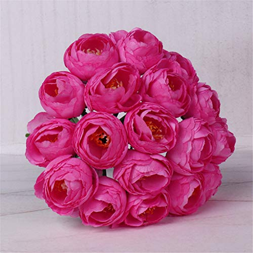 (m·kvfa Artificial Peony Flower Real Looking Fake Roses for DIY Wedding Bouquets Centerpieces Bridal Bouquet Shower Party Home Decorations (Hot Pink))