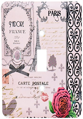 3dRose LLC lsp_76593_1 Stylish Vintage Pink Paris Collage Art Eiffel Tower Red Rose Girly Gothic Black Bow and Swirls Single Toggle (Bow Toggle)