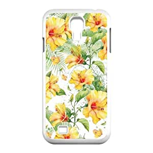 Samsung Galaxy S4 9500 Cell Phone Case White Yellow Hibiscus LSO7973285