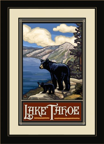 Northwest Art Mall PAL-0124 FGDM LKB Lake Tahoe Lake Bears Framed Wall Art by Artist Paul A. Lanquist, 16 by 22-Inch