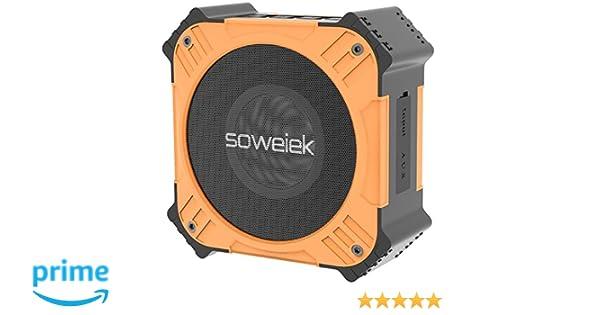 Soweiek T80 Altavoz Bluetooth Portátil Solar,Speaker Impermeable Inalámbrico IPX6 con 20 Horas de Emisión Continua,HD Sonido Estéreo, Extra Bass,Micrófono ...