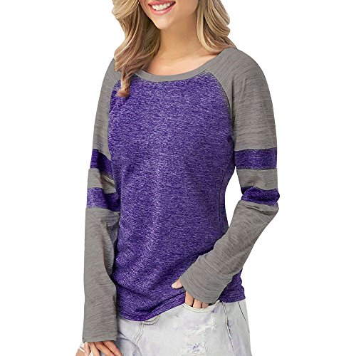 Clearance!! Lelili Women Long Sleeve Round Neck Color Block Stripe Patchwork Shirt Casual Blouse Tops (Dark Purple, XL) - Adapter Womens Long Sleeve