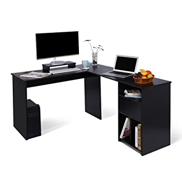 Superb Ej Life L Shaped Office Computer Desk Large Corner Pc Table With Monitor Stand For Home And Office Use Black Wood Grain 2 Carton Packages Download Free Architecture Designs Momecebritishbridgeorg