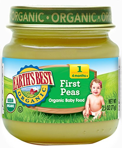 Earths Best Pear (Earth's Best Organic Stage 1 Baby Food, Peas, 2.5 Ounce Jars, Pack of 12)