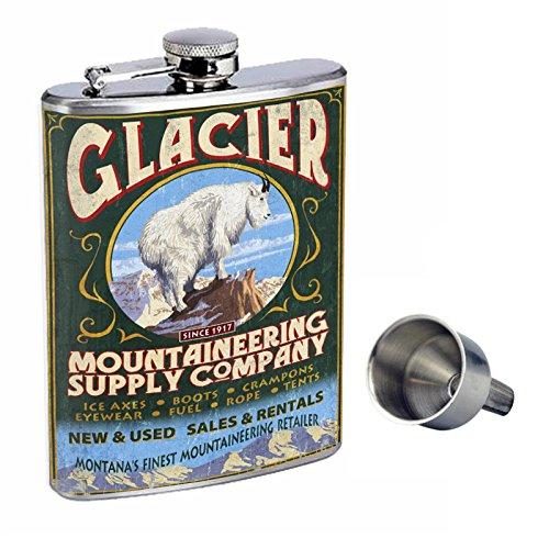 格安新品  Perfection Vintage Free Inスタイル8オンスステンレススチールWhiskey Flask B017GKWN1K with Free Funnel d-008グレイシャー国立公園、モンタナ州 – Mountain Goat Vintage Sign B017GKWN1K, ナガノシ:3e629fbf --- shrigajendrajewellers.com