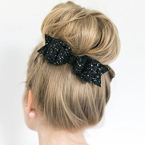 Happy Hours - 1 Pc Women and Girl Sequins Bowknot Hair Clips / Kids Bling Glitter Big Hairpin Headwear Hair Accessories(Black) (Tortoise Shell Lacquer)