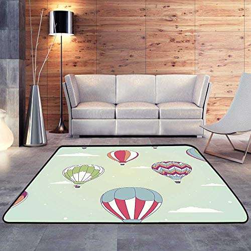 Tables Lift Air - Bedroom Rugs,Retro hot air balloonW 63