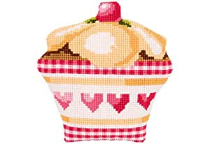 Vervaco Cupcake Cross Stitch Shaped Cushion, Multi-Colour