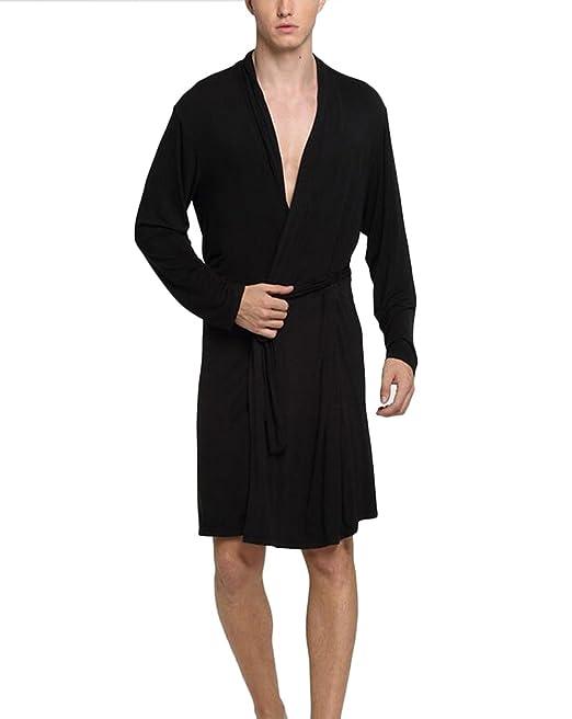Albornoz Hombre Manga Larga Suelto Tallas Grandes Color Sólido Primavera Otoño Bata De Baño Homewear Pijama