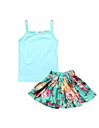 Kids Tales Hot Little Girls Little Princess Camisole+Blue Skirt 2-piece Outfit