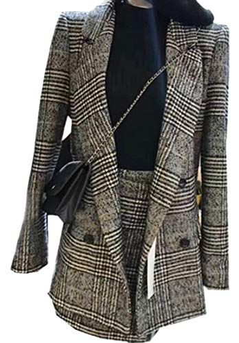 GenericWomen Plaid Double Breasted Office Blazer Jacket Skirt Two Piece Suits Set 1 M