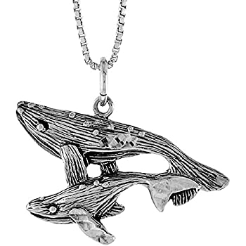 Sterling Silver Whale w// Baby Pendant 3//4 inch Tall