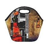 InterestPrint Africa Woman Vintage Style Reusable Insulated Neoprene Lunch Tote Bag Cooler 11.93'' x 11.22'' x 6.69'', Retro Portable Lunchbox Handbag for Men Women Adult Kids
