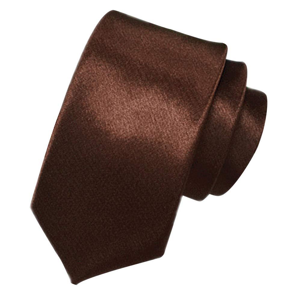 Coffee-145x5x3cm//57.09x1.97x1.18in-1piece kinmyte Men Classic Solid Color 5cm Slim Groom Wedding Neck Ties Polyester Silk Business