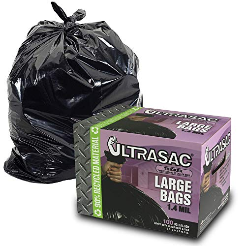 UltraSac 33 Gallon Trash Bags - (Huge 100 Pack/w Ties) - 39' x 33' Heavy Duty Large Professional Quality Black Garbage Bags - Extra Strong Plastic Trashbags for Home, Kitchen, Lawn, and Other (Renewed) from Aluf Plastics