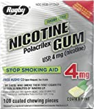 Rugby Sugar Free Nicotine Polacrilex Gum, 100 Count – 4 MG – COATED MINT Flavor – Stop Smoking Aid Review