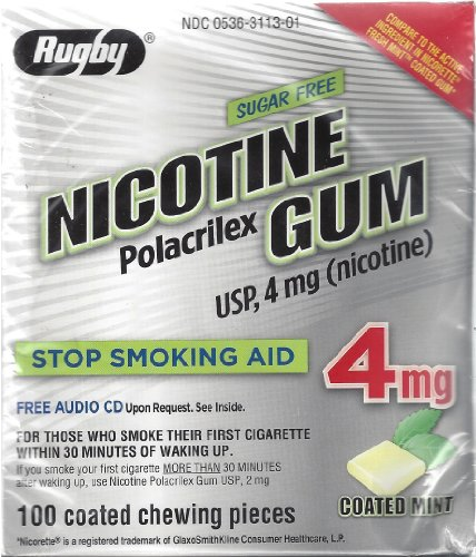 Polacrilex Nicotine (Rugby Sugar Free Nicotine Polacrilex Gum, 100 Count - 4 MG - COATED MINT Flavor - Stop Smoking Aid)