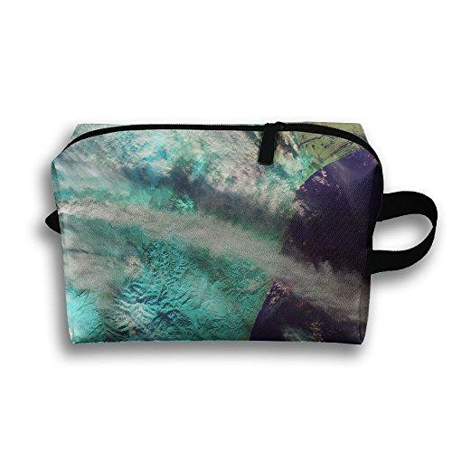 Volcano Eruption Pattern Travel Bag Cosmetic Bags Brush Pouch Portable Makeup Bag Zipper Wallet Hangbag Pen Organizer Carry Case Wristlet Holder