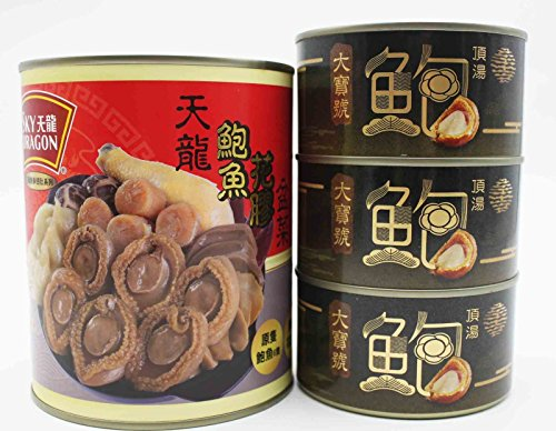 China Good Food Set-9 Canned Abalone 6 pieces (3 can) x Canned Bowl Feast (1 can) Free Airmail by China Good Food