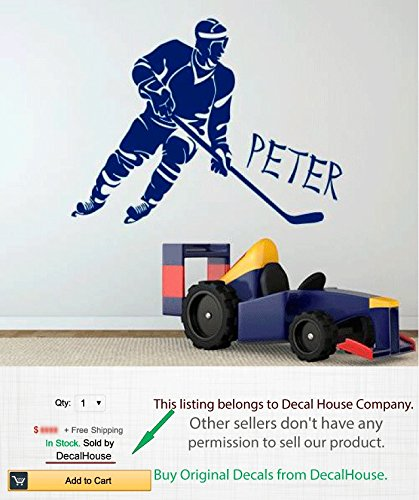 Hockey Wall Decal Boy Personalized Name Decal Hockey Player Vinyl - Wall decals carscars wall decals add photo gallery car wall decals home design ideas