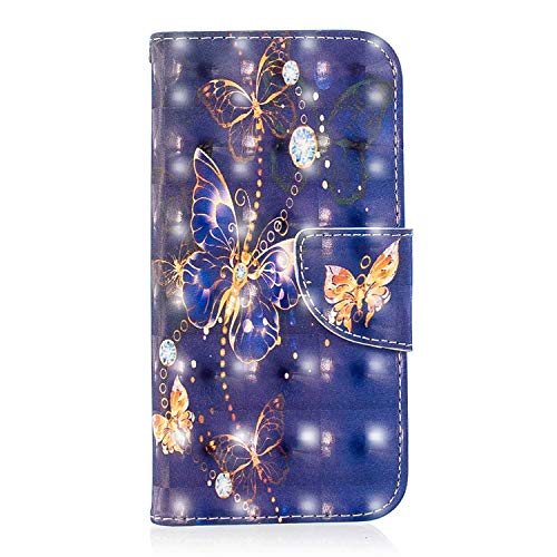 iPhone XR Case, Bear Village 3D Creative Printed PU Leather Magnetic Flip Folio Wallet Cover with ID and Credit Card Pockets for Apple iPhone XR (#7 Butterfly) ()