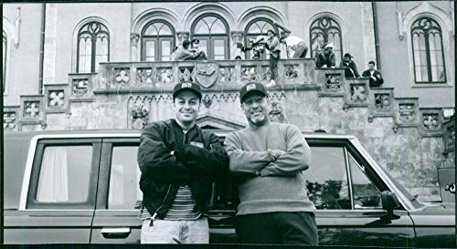"""Good photo of Todd Graff and Hawk Koch on the set of a 1997 American comedy film, """"The Beautician and the Beast."""""""