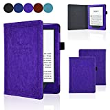 ACdream All-New Kindle 8th Generation 2016 Case, Form Fitting Premium Leather Cover Case for 2016 All-New Kindle 6'' E-reader with Auto Wake Sleep feature, Vintage Purple