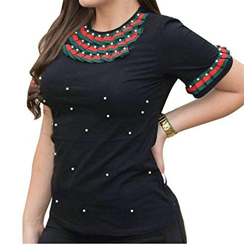 LD Womens Sexy Faux Pearl Short Sleeve Slim Fit Rib-Knit Shirt Blouse Top
