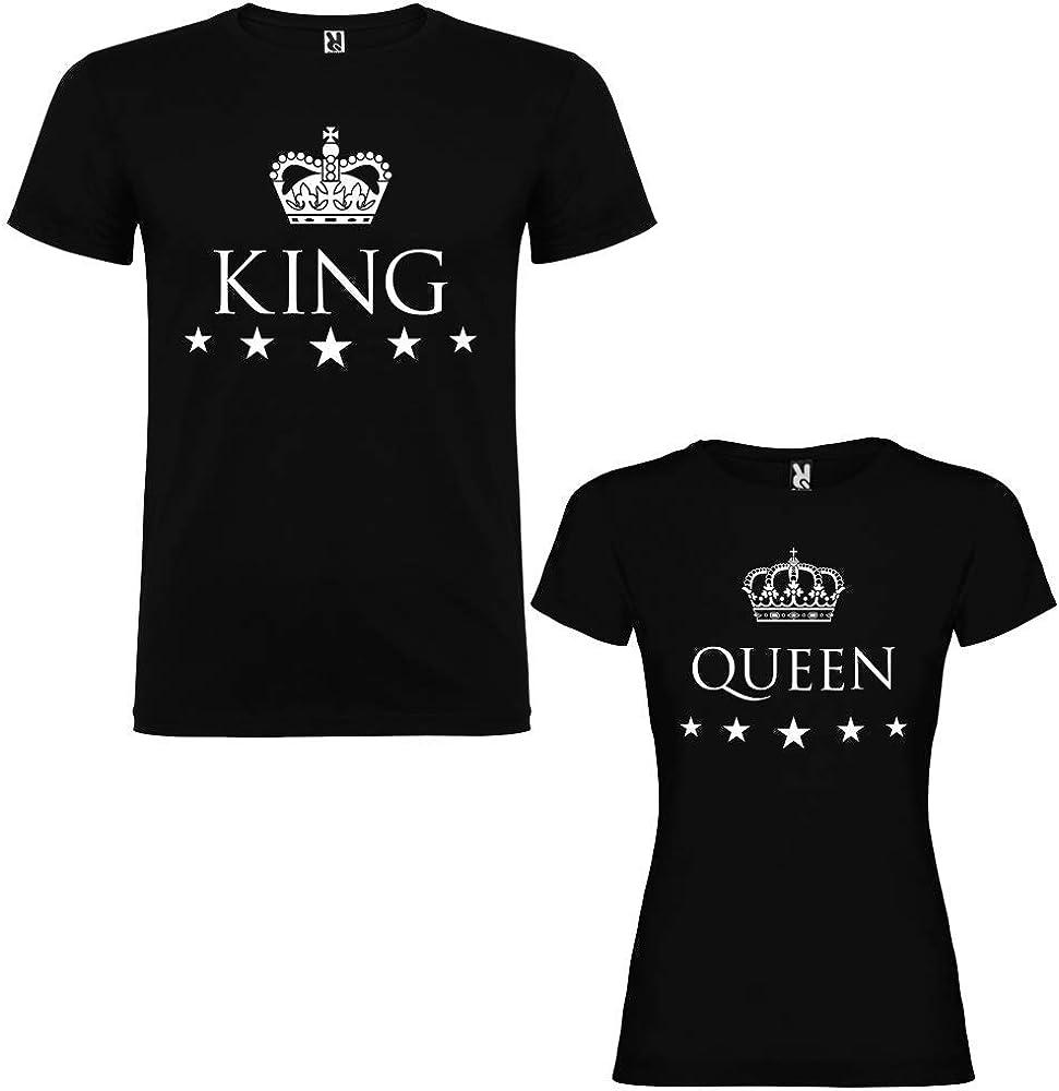 Pack de 2 Camisetas Negras para Parejas, King y Queen, Blanco: Amazon.es: Ropa y accesorios