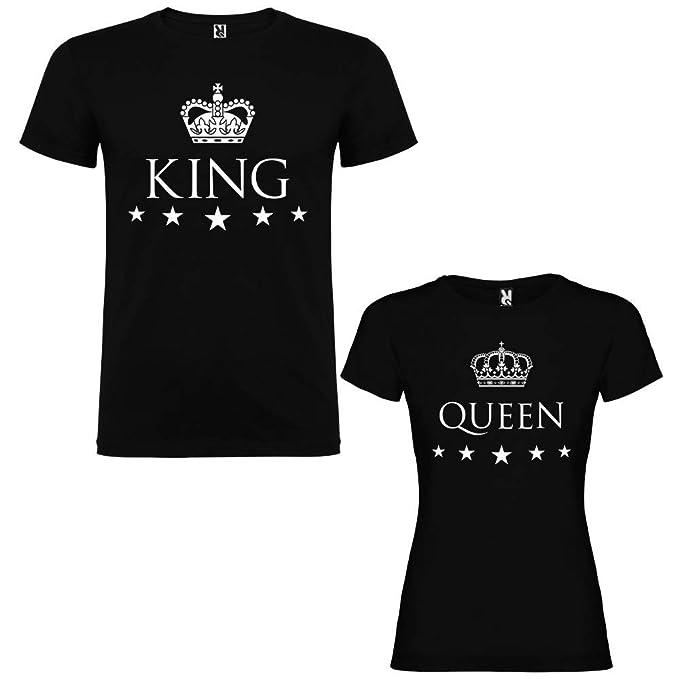 Pack de 2 Camisetas Negras para Parejas, King y Queen, Blanco (Mujer Tamaño