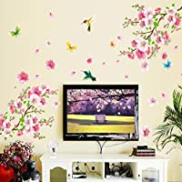 لاصقة لتزيين جدار غرفة الجلوس، غرفة النوم او المنزل، على شكل مشهد لزهرة الخوخ الربيعية