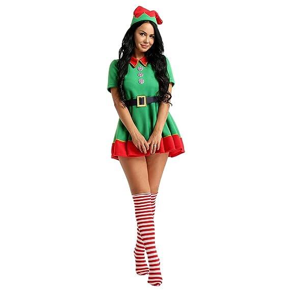 1a94f88232cc2 MSemis Adulte Femme Homme Noël Déguisement Lutin Ensemble Robe Soirée  Princesse et Chaussette et Bonnet Noël Cosplay Elfe Costume Clown Tutu Robe  Carnaval  ...