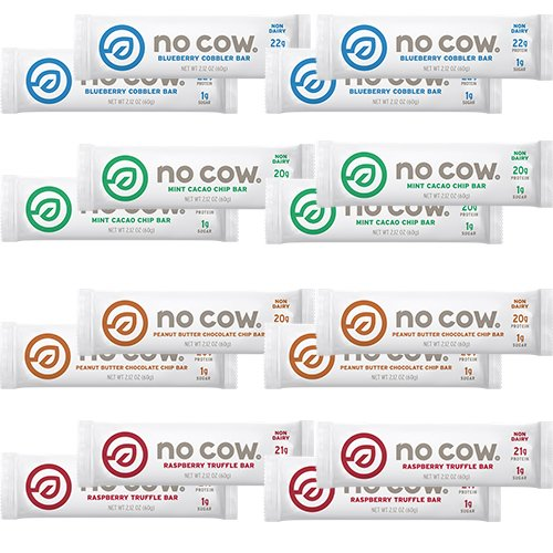 Cow Little Moo (D's Naturals No Cow Bar Variety Sampler Pack, 16 Pack, Includes: 4 Raspberry Truffle, 4 Peanut Butter Chocolate Chip, 4 Mint Cocao Chip, 4 Blueberry Cobbler)