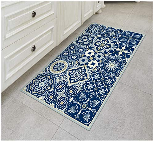 Floor Cloth Designs - Tiva Design Royal Blue Vinyl Floor Mat: Decorative Linoleum PVC Rug Runner Tile Flooring in 12 Choices, Colorful, Durable, Anti-Slip, Hand Washable, and Protects Floors 39.3
