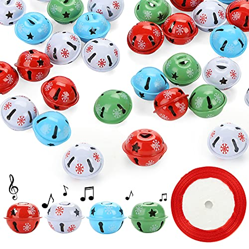 MCPINKY Christmas Jingle Bells, 40PCS Bulk Craft Bells with Star Cutouts Christmas Metal Sleigh Bells and a Roll of Ribbon for Christmas Tree Wreath Garland Ornaments Holiday Gift DIY Decor