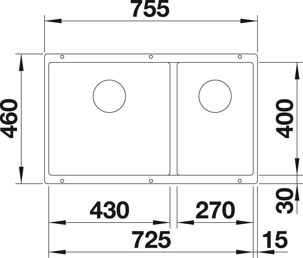 430 x 270 mm Blanco 523155 SUBLINE 430//270-U colore: Bianco Lavello da cucina