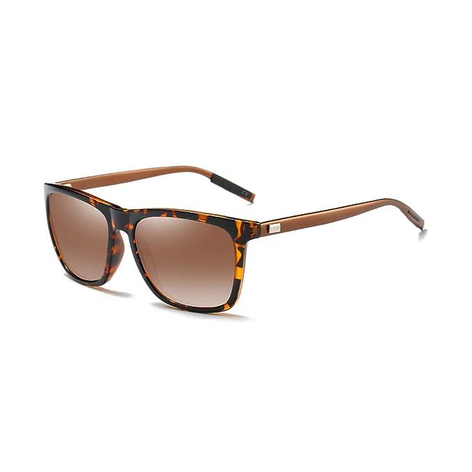 AMZTM Gafas de Sol Cuadradas para Hombre, Mujer, Polarizadas Lente TAC, Glasse de
