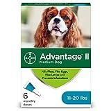 Bayer Advantage II Flea and Lice Treatment for Medium Dogs, 11-20 lb, 6 doses