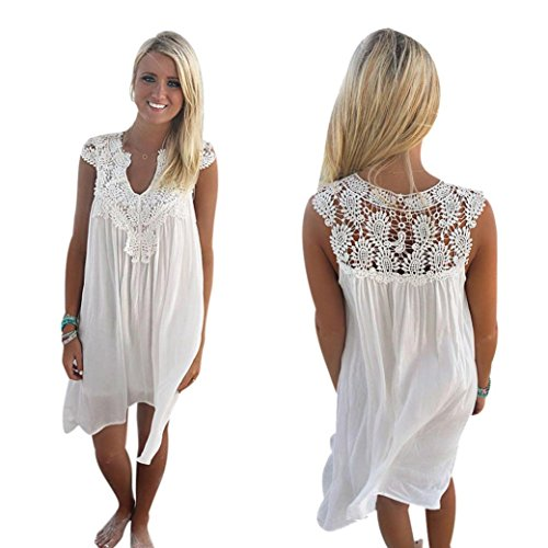 (Women Dress, Sexy Sunmer Dress for Women Boho Sleeveless Womens Loose Summer Beach Lace Dress (White, L))