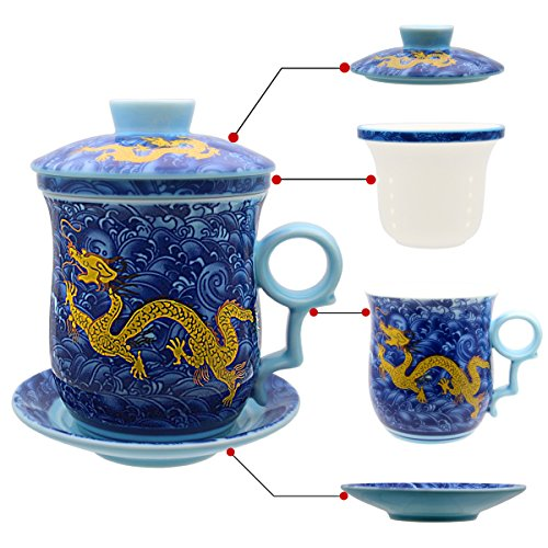 - Tea Talent Porcelain Tea Cup with Infuser Lid and Saucer Sets - Chinese Jingdezhen Ceramics Coffee Mug Teacup Loose Leaf Tea Brewing System for Home Office