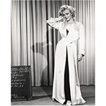 Marilyn Monroe Photo 8 inch x 10 inch PHOTOGRAPH Some Like it Hot How to Marry a Millionaire B&W Pic Chalkboard on Floor Long Satin Robe Curtain Behind Her Right Hand in Hair kn